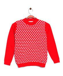 RVK Dot Design Full Sleeves Pull Over - Red