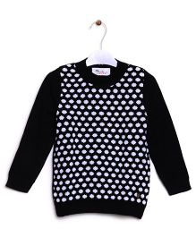 RVK Dot Design Full Sleeves Pull Over - Black