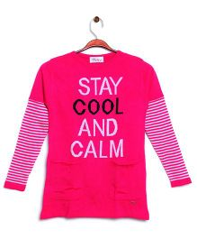 RVK Stay Cool & Calm Text Full Sleeves Pull Over - Hot Pink