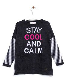 RVK Stay Cool & Calm Text Full Sleeves Pull Over - Black