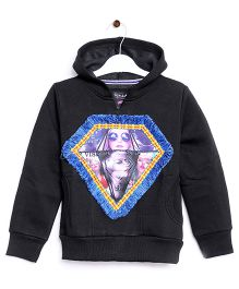 RVK Diamond Printed Sweatshirt With Hoodie - Black