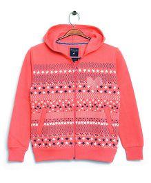 RVK Stylish Zipper Sweatshirt With Hoodie - Salmon Red