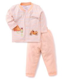 Child World Full Sleeves Shirt And Leggings Set Motorcycle Patch - Peach