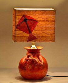 ExclusiveLane Terracotta Potli Lamp With Hand Painted Kite Shade - Bright Orange
