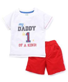 Babyhug Half sleeve T-Shirt And Shorts Set Daddy Print - White Red