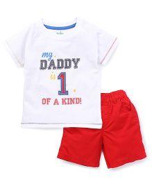 Babyhug Half Sleeves Printed T-Shirt And  Shorts Set - White Red