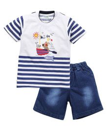 Babyhug Half Sleeves Stripes T-Shirt Printed And Denim Shorts - Navy White