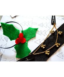 Pretty Ponytails Christmas Delight Hairband & Head Chain Clip Set - Green & Golden