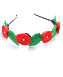 Pretty Ponytails Roses Garland Hairband - Red & Green