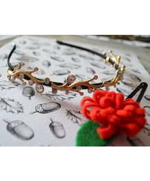 Pretty Ponytails Carnations And Tree Bark Hairband & Clip - Golden & Red
