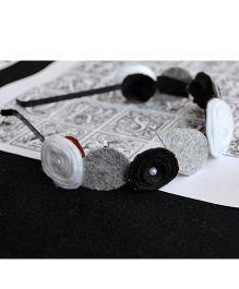 Pretty Ponytails Pristine Roses Hairband - White Grey & Black