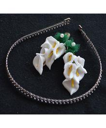 Pretty Ponytails Pristine Anthuriums Clip & Hairband - Green White & Silver
