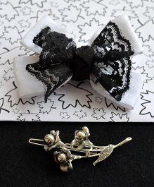 Pretty Ponytails Bow Lace Flower Clip Set - Black White & Silver