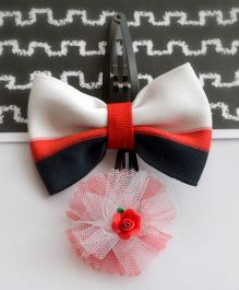 Pretty Ponytails Bow Contrast Rose Clip - Red Black & White