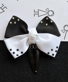 Pretty Ponytails Bow Contrast Clip - Black & White