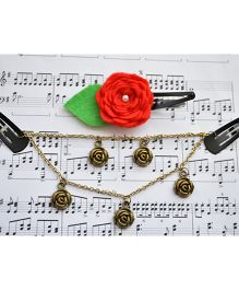 Pretty Ponytails Layers In Roses Head Chain & Clip Set - Red Green & Gold