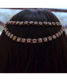 Pretty Ponytails Kundan Circular Head Chain Clip - Golden