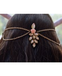 Pretty Ponytails Kundan Grape Bunch With Rose Head Chain Clip - Gold & Pink