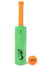 Safsof Cricket Bat And Ball Set - Green Orange