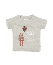 Solittle Half Sleeves T-Shirt Astronaut Print - Grey
