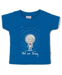 Solittle Half Sleeves T-Shirt Neil Am Strong Print - Indigo Blue