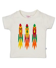 Solittle Half Sleeves T-Shirt Three Rockets Print - White