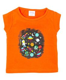 Solittle Short Sleeves Top Astronaut & Solar System Print - Orange