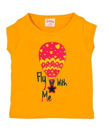 Solittle Short Sleeves Top Parachute Print - Yellow