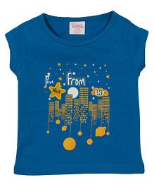 Solittle Short Sleeves Top Stars From Sky Print - Blue