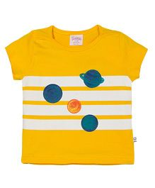 Solittle Short Sleeves Top Planets Print - Yellow