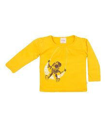 Solittle Full Sleeves Top Astronaut Print - Yellow