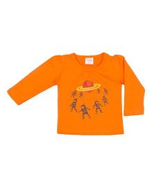 Solittle Full Sleeves Top Astronaut Print - Orange