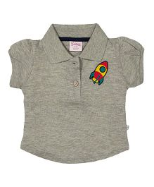 Solittle Puff Sleeves Polo T-Shirt Rocket Embroidery - Grey