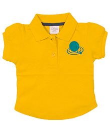 Solittle Puff Sleeves Polo T-Shirt - Yellow