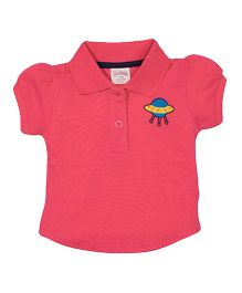 Solittle Puff Sleeves Polo T-Shirt - Pink
