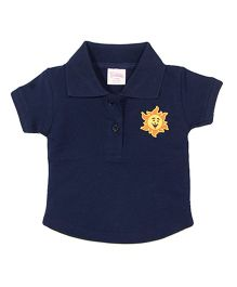 Solittle Puff Sleeves Polo T-Shirt Sun Patch - Navy Blue