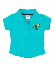 Solittle Puff Sleeves Polo T-Shirt - Blue