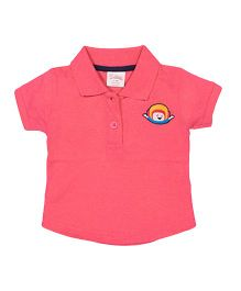 Solittle Puff Sleeves Polo T-Shirt With Patch Design - Pink