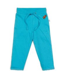 Solittle Full Length Drawstring Lounge Pant Embroidered Design - Blue