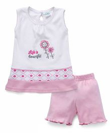 Babyhug Sleeveless Night Suit Set Floral Embroidery - Pink