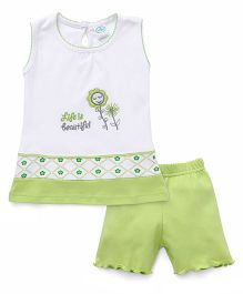 Babyhug Sleeveless Night Suit Set Floral Embroidery - Green