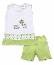 Babyhug Sleeveless Night Suit Set Floral Embroidery - Green