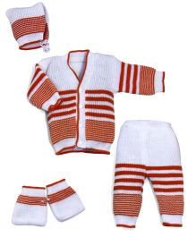 Soft Tots Winter Sweater Sets - White & Brown