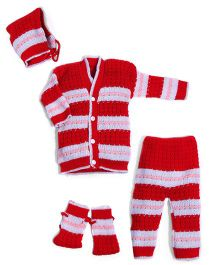 Soft Tots Sweater Pant Mittens Muffler Set - Red & White