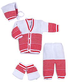 Soft Tots Winter Sweater Set For Infants - White & Red