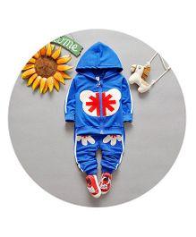 Teddy Guppies Hoodie & Pant Set - Blue White & Red