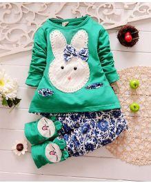 Teddy Guppies Bunny Tee & Pant Set - Green & Blue