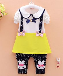 Teddy Guppies Dress & Bunny Pant Set - White Blue & Yellow
