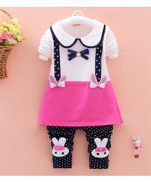 Teddy Guppies Dress & Bunny Pant Set - White Blue & Pink
