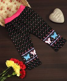 BownBee Butterfly Print Leggings - Black & Pink